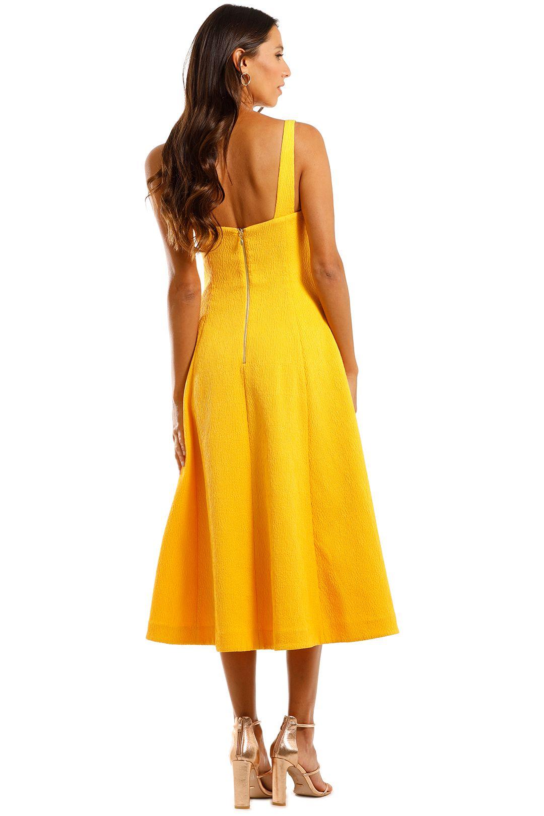 Rebecca Vallance Andie Strap Midi Dress Yellow Flare Skirt