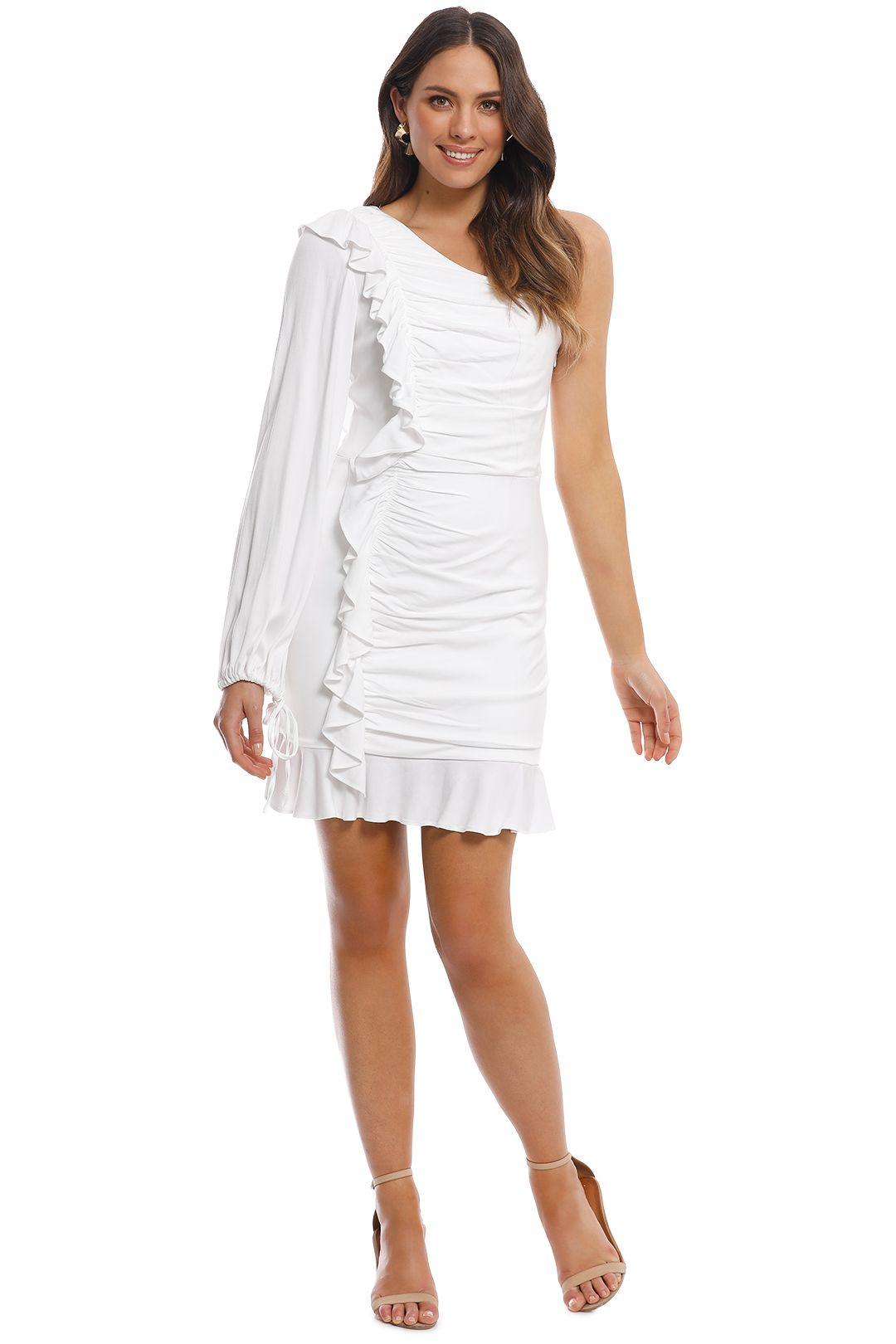 Rebecca Vallance - Argentine One Shoulder Mini Dress - White - Front