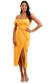 Rebecca Vallance Baha Strapless Midi Dress One shoulder Ruffles
