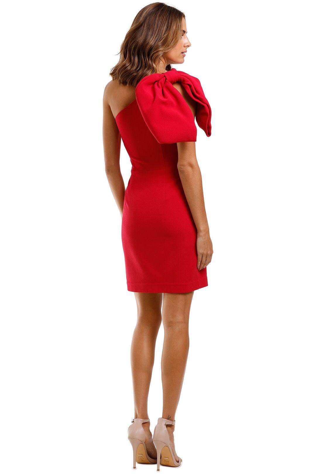 Rebecca Vallance Hamptons Mini Bow Dress Poppy Red One Shoulder