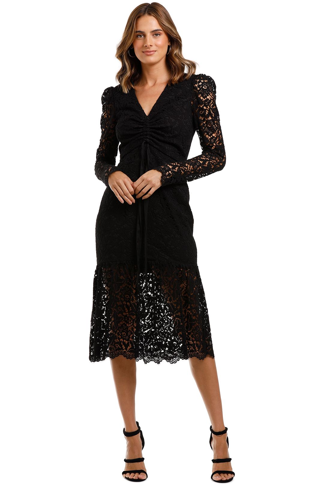 Rebecca Vallance Le Saint Ruched Dress Black