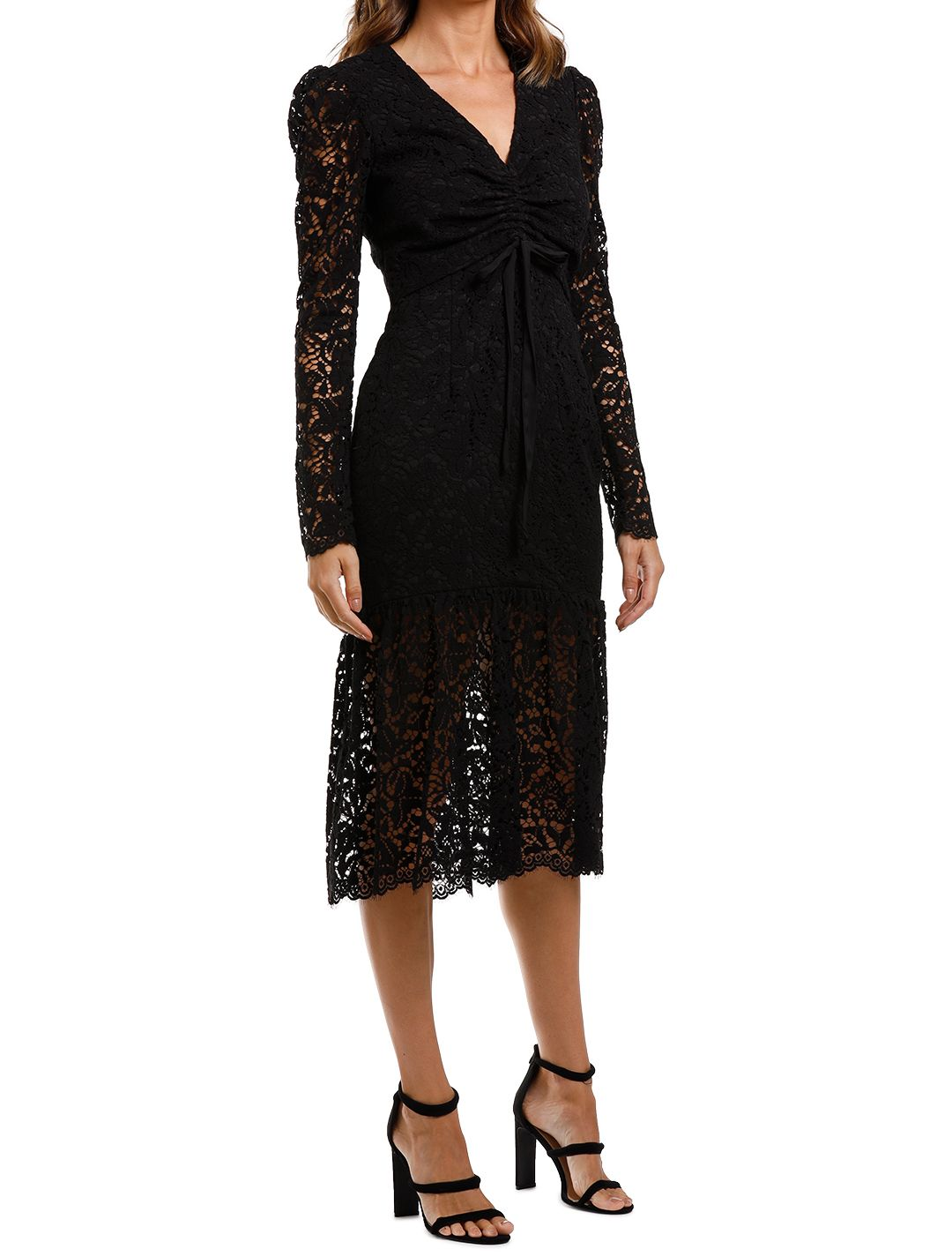 Rebecca Vallance Le Saint Ruched Dress Black Lace