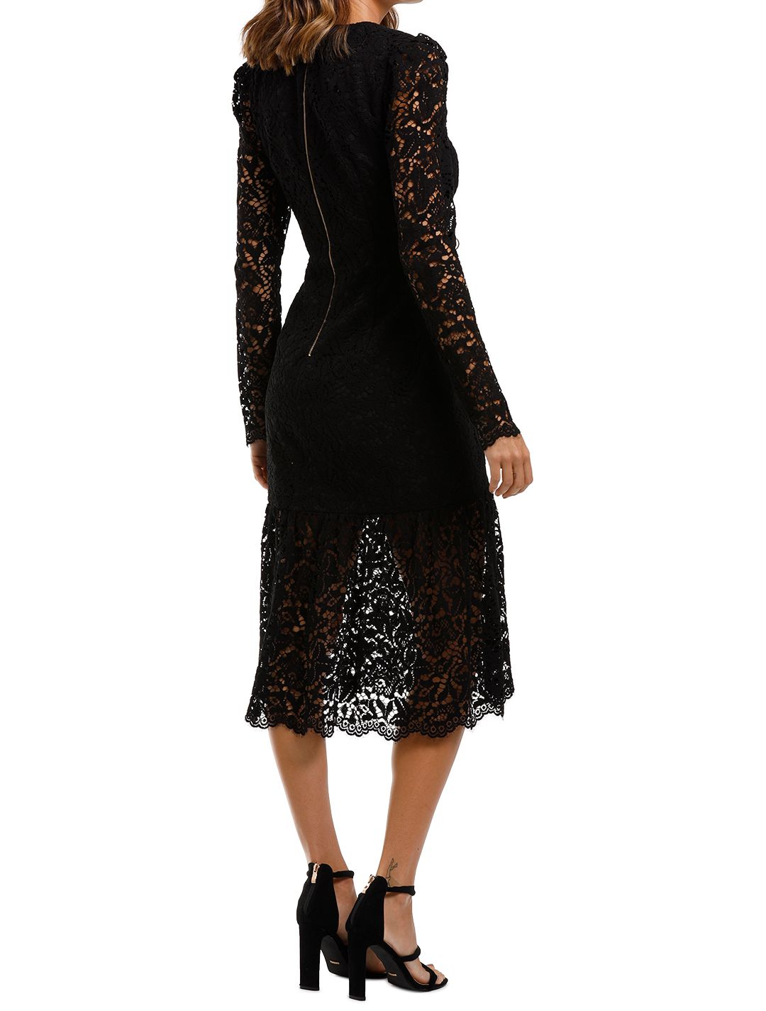 Rebecca Vallance Le Saint Ruched Dress Black Midi