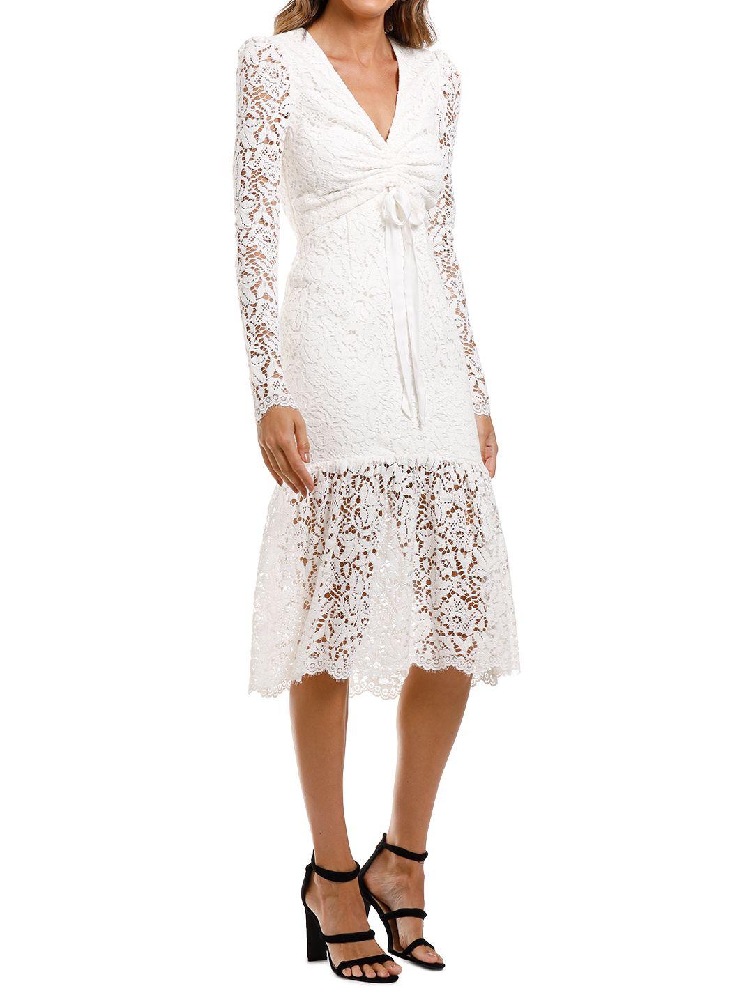 Rebecca Vallance Le Saint Ruched Dress White Lace