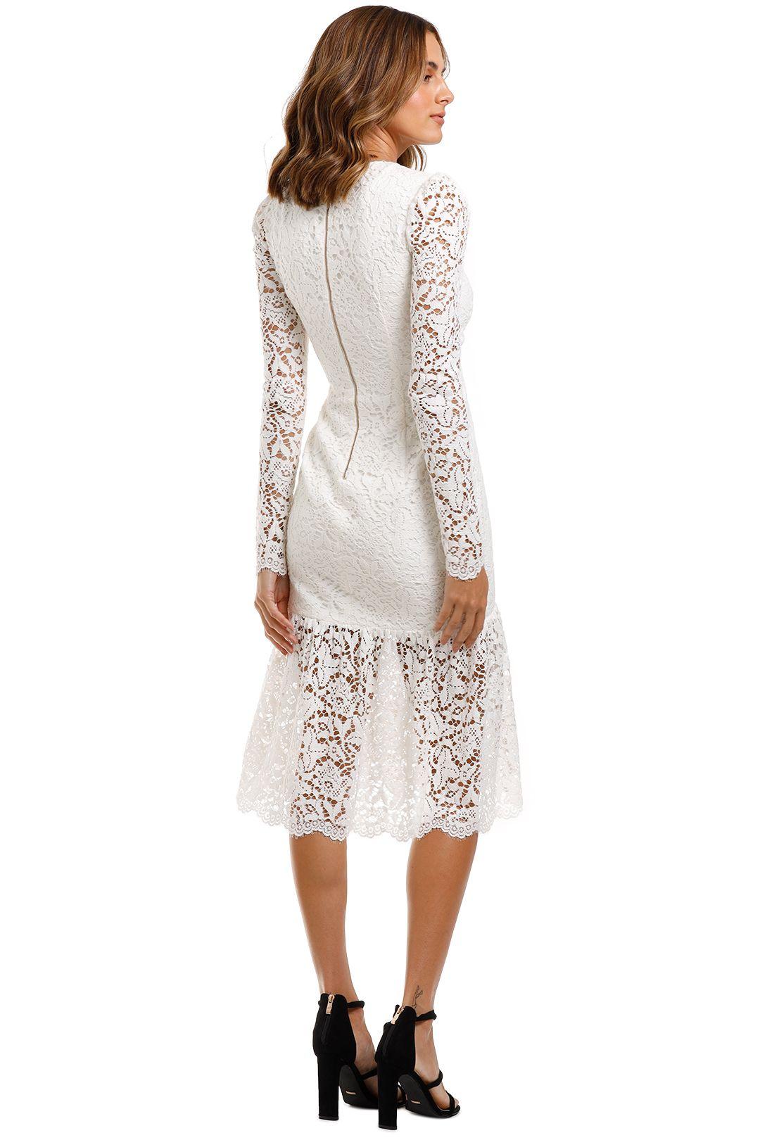 Rebecca Vallance Le Saint Ruched Dress White Midi