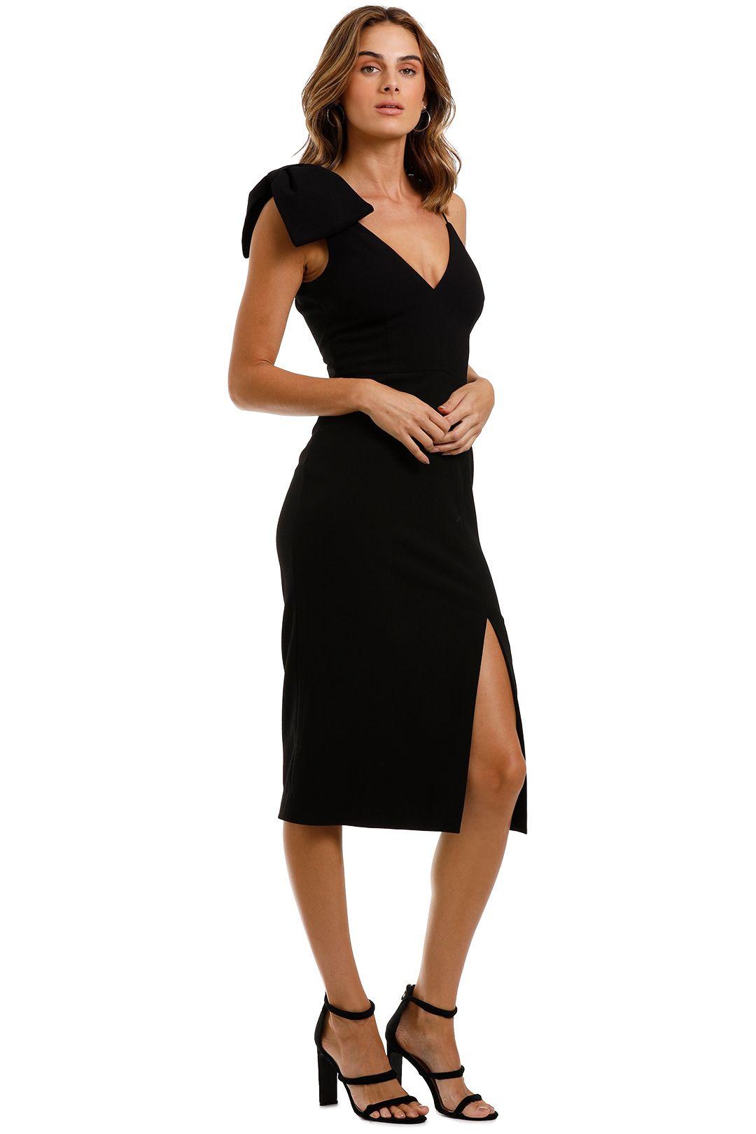 Rebecca Vallance Love Bow Dress Black Midi Length