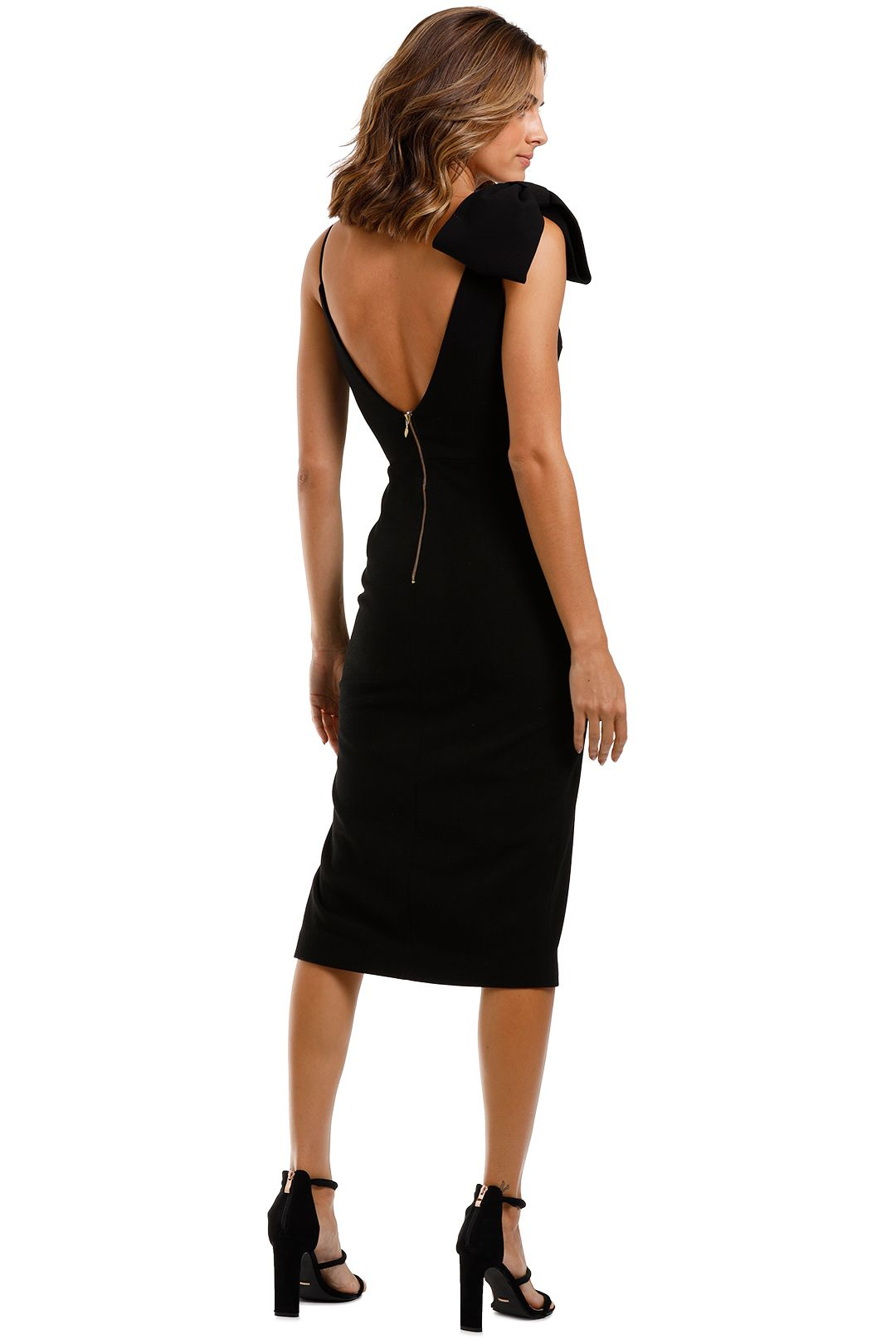 Rebecca Vallance Love Bow Dress Black Side Split