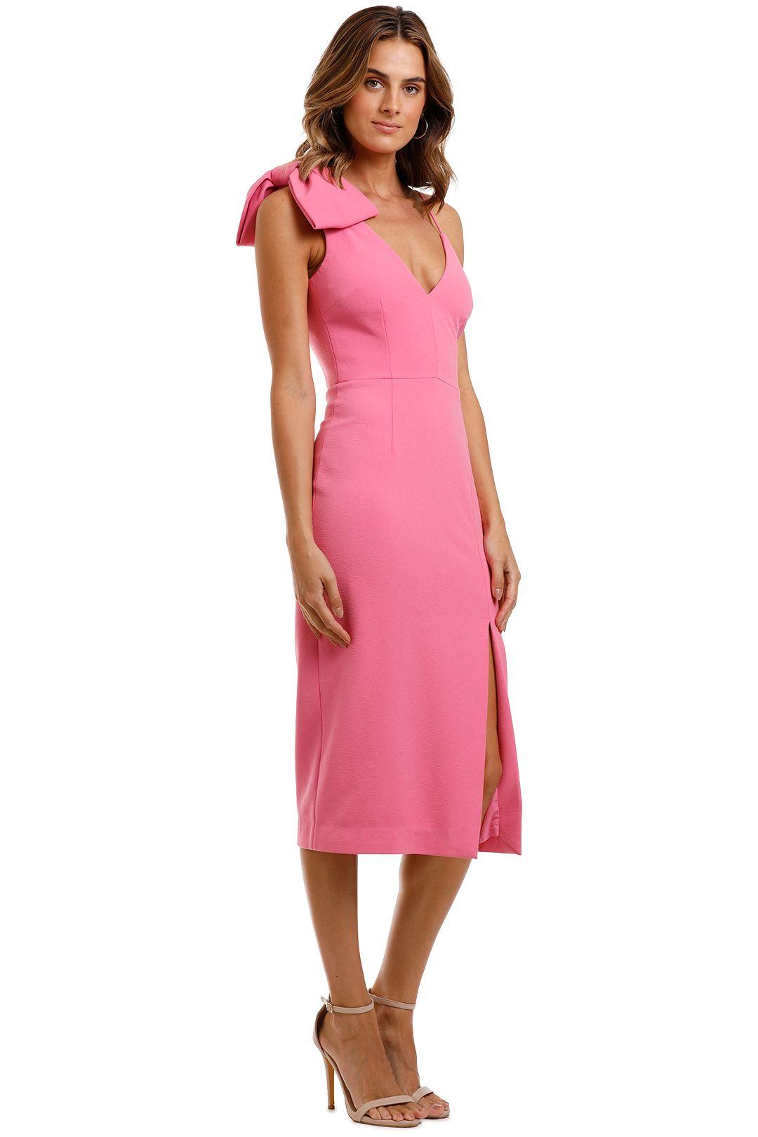 Rebecca Vallance Love Bow Dress Pink Midi Length