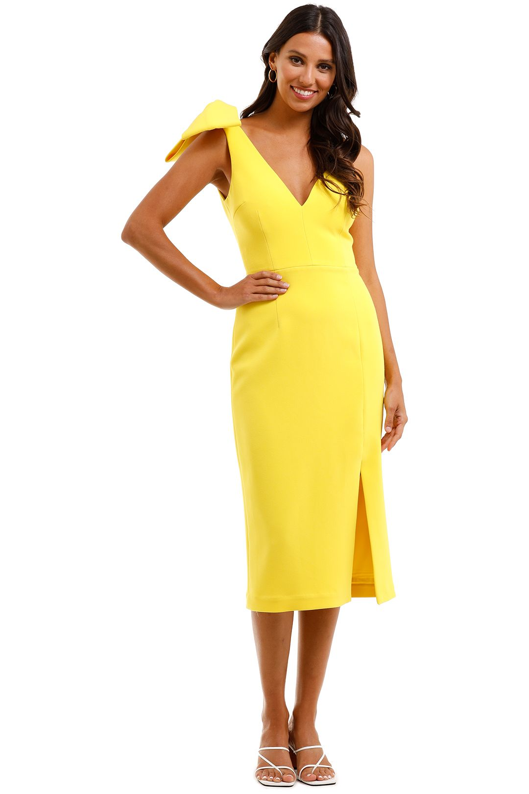 Rebecca Vallance Love Bow Dress Yellow One Shoulder
