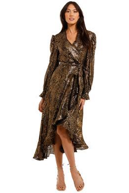 Rebecca Vallance Quixote Midi Dress Gold Dark wrap