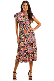 Rebecca Vallance Soho Frill Midi Dress Abstract Floral