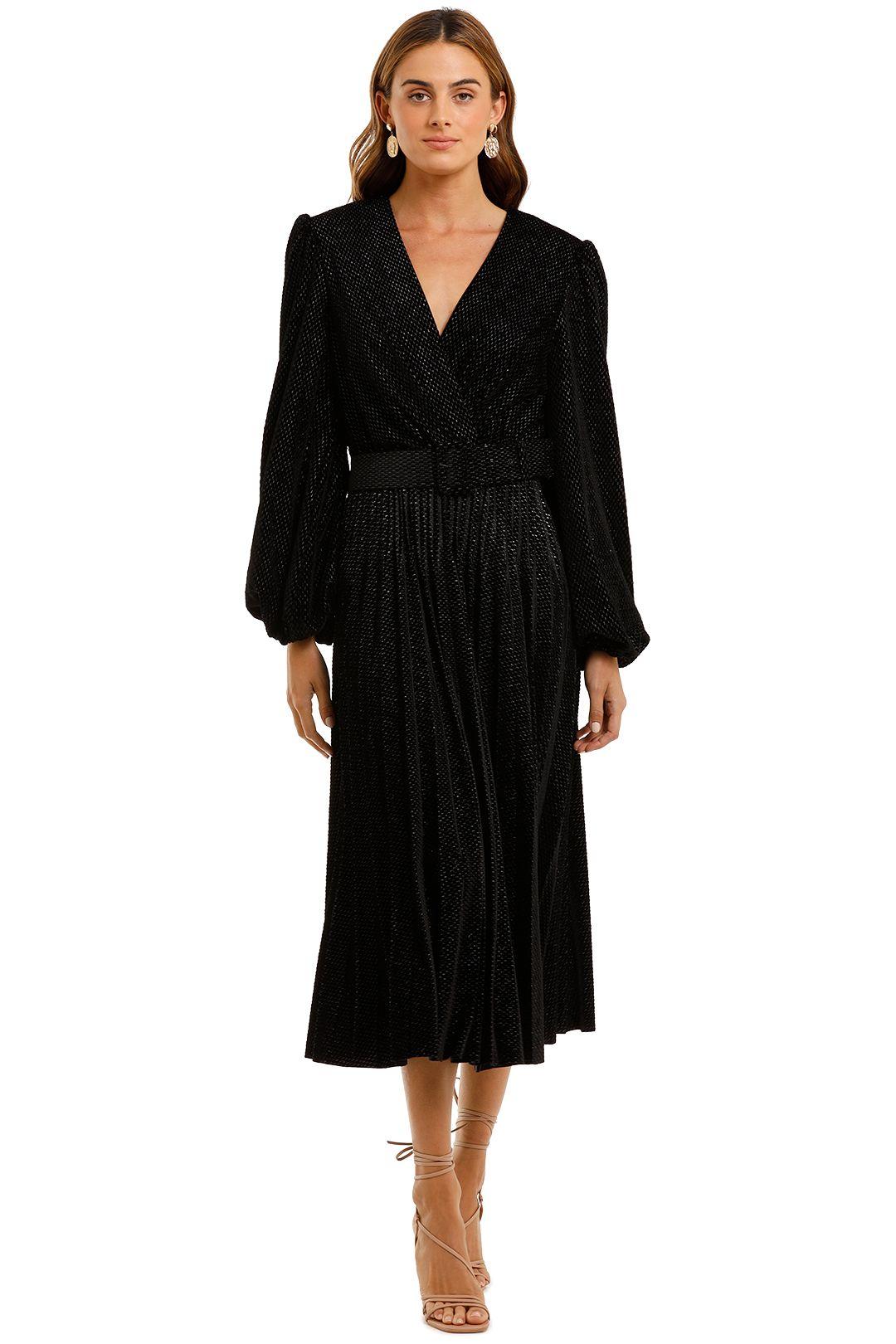 Rebecca Vallance Viper Plunge Midi Dress Black