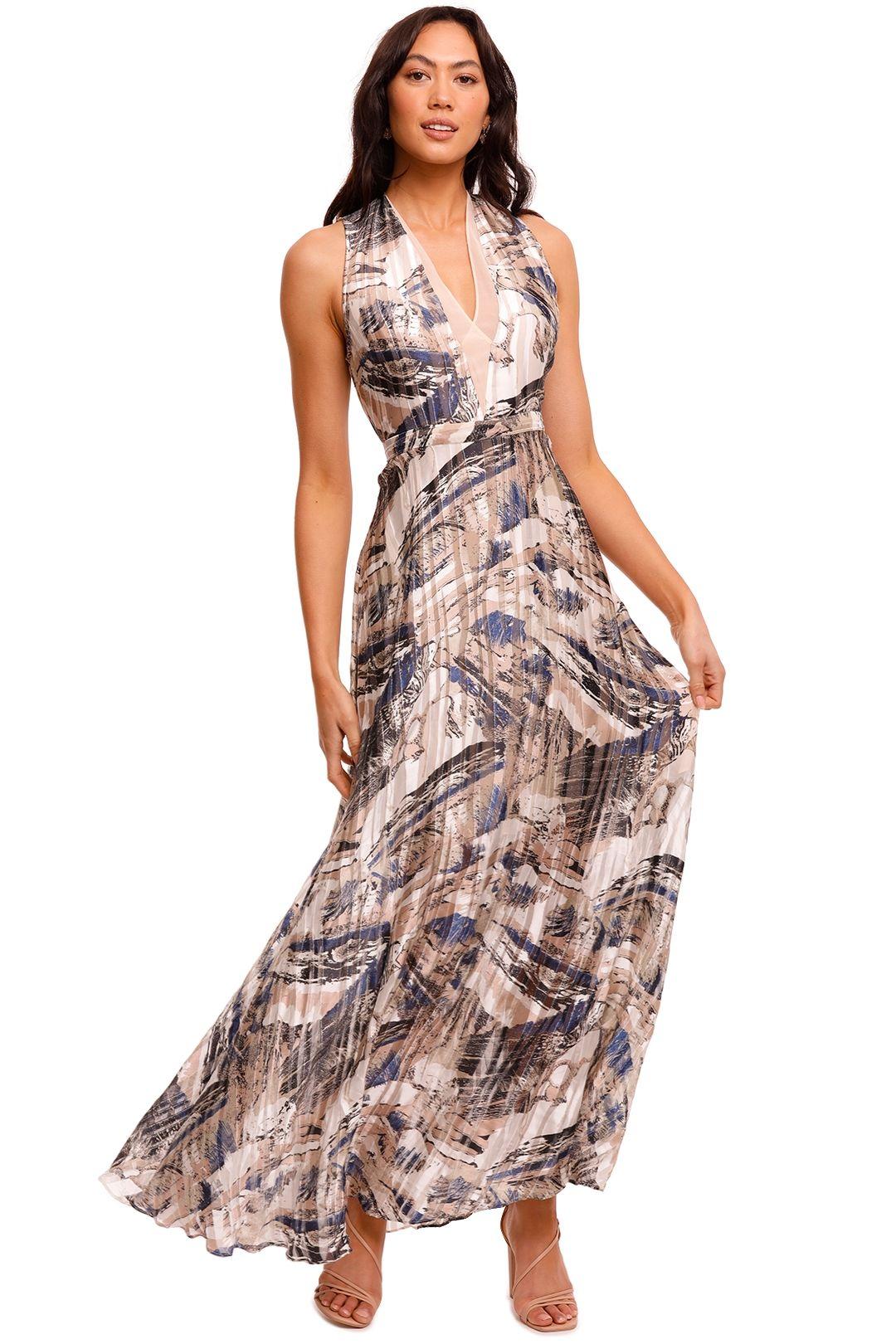 Reiss Marble Maxi Dress plunge v neck