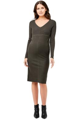 Ripe-Maternity-Amber-Knit-Dress-Khaki-Front