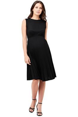 Ripe-Maternity-Knife-Pleat-Dress-Black-Front