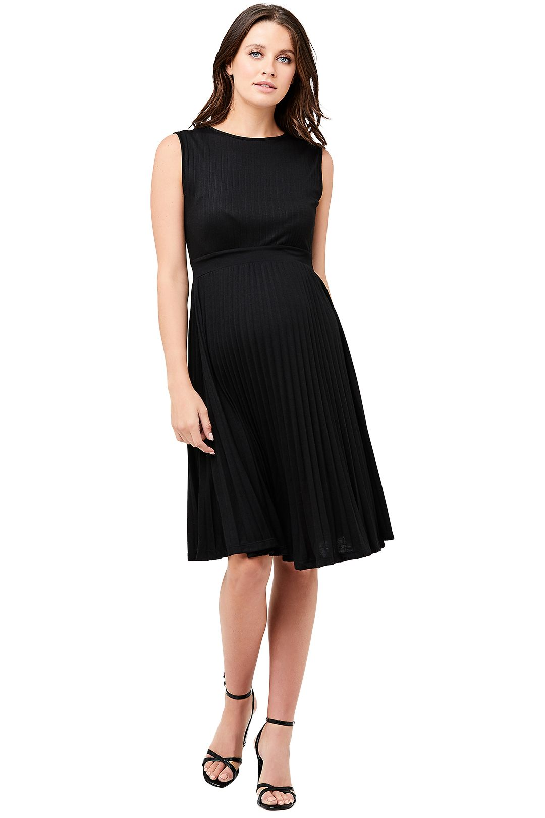 Ripe-Maternity-Knife-Pleat-Dress-Black-Front