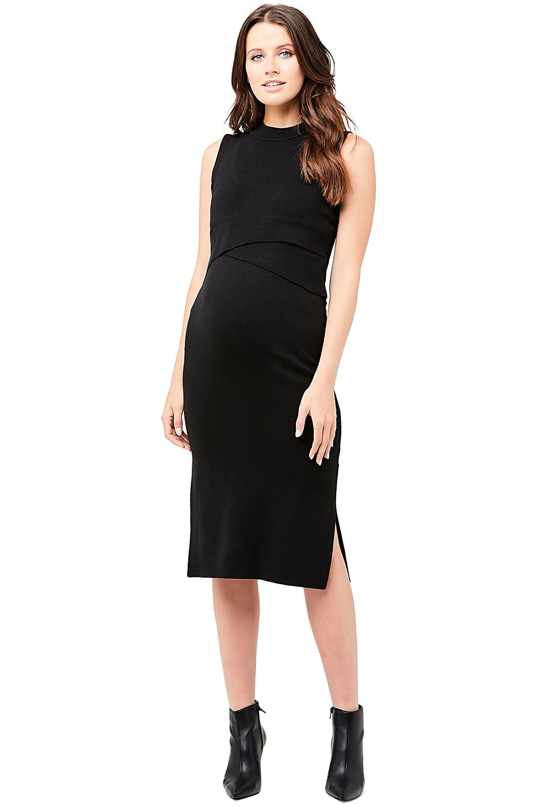 Ripe-Maternity-Knit-Nursing-Dress-Black-Front