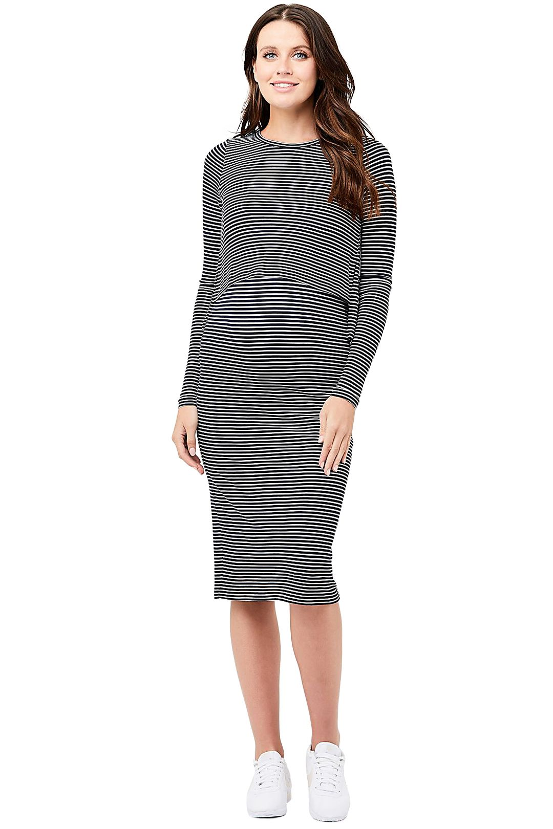 Ripe-Maternity-Kora-Nursing-Dress-Navy-White-Front