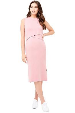 Ripe-Maternity-Layered-Knit-Nursing-Dress-Pink-Front