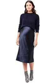 Ripe-Maternity-Lexie-Satin-Skirt-Navy-Front