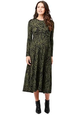 Ripe-Maternity-Lynx-Front-Cross-Nursing-Dress-Khaki-Black-Front