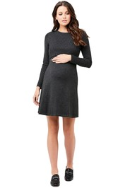 Ripe-Maternity-Molly-Nursing-Dress-Charcoal-Marle-Front