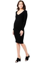 Ripe-Maternity-Sadie-Rib-Knit-Nursing-Dress-Black-front
