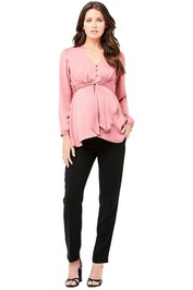 Ripe-Maternity-Satin-Tie-Front-Blouse-Pink-Front