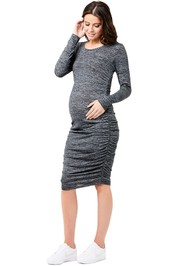 Ripe-Maternity-Textured-Knit-Cocoon-Dress-Black-Front