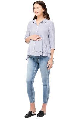 Ripe Maternity-Stripe-Layered-Peplum-Shirt-Navy-White-Front