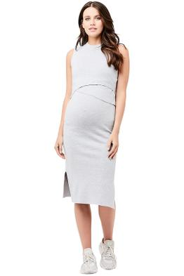 Riper-Maternity-Layered-Knit-Nursing-Dress-Silver-Front