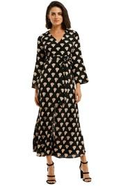 Rixo-London-Nora-Gold-Foil-Shell-Dress-Front