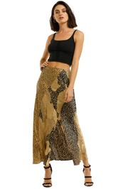 Rixo-London-Parker-Skirt-Gold-Front