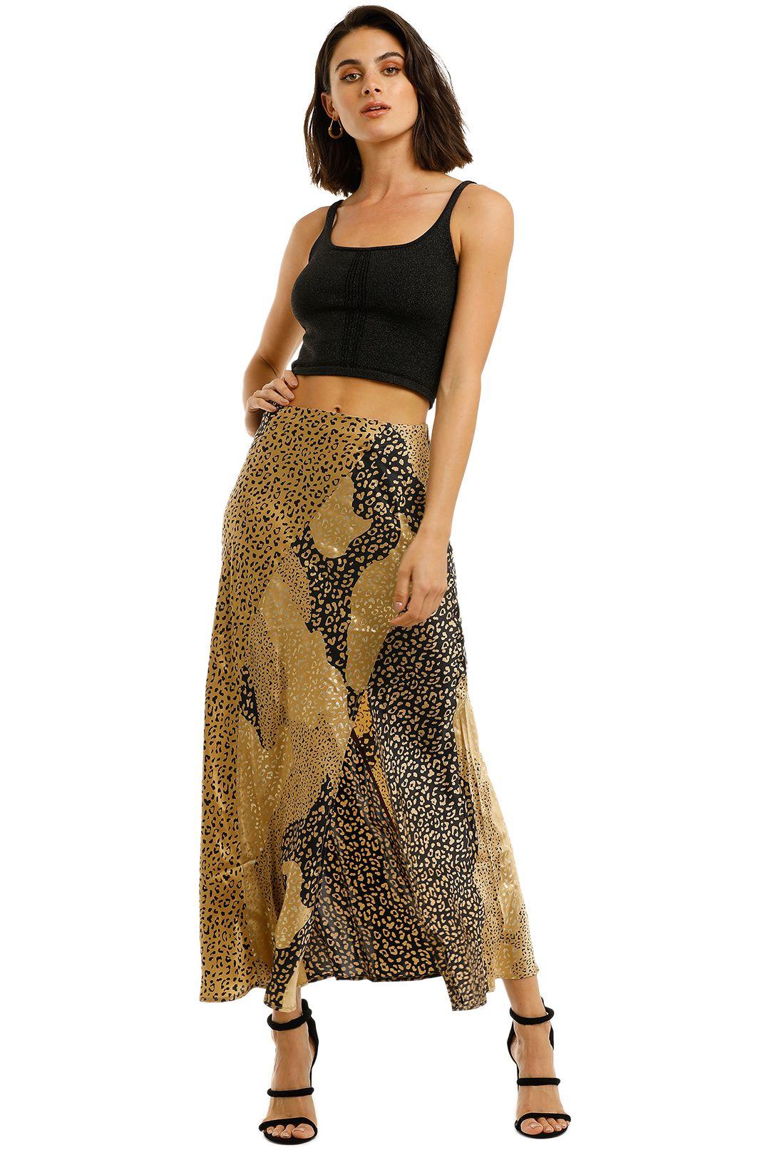 Rixo-London-Parker-Skirt-Gold-Front