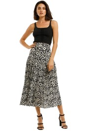 Rixo-London-Tina-Skirt-Mono-Square-Front