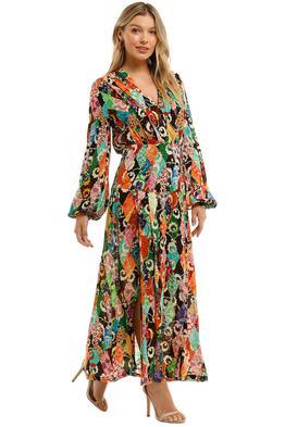 Rixo London Autumn Patchwork Midi Dress V Neckline