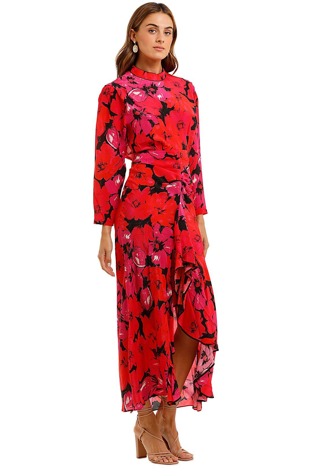 Rixo London Dani Mystic Bloom Maxi Dress Red Pink