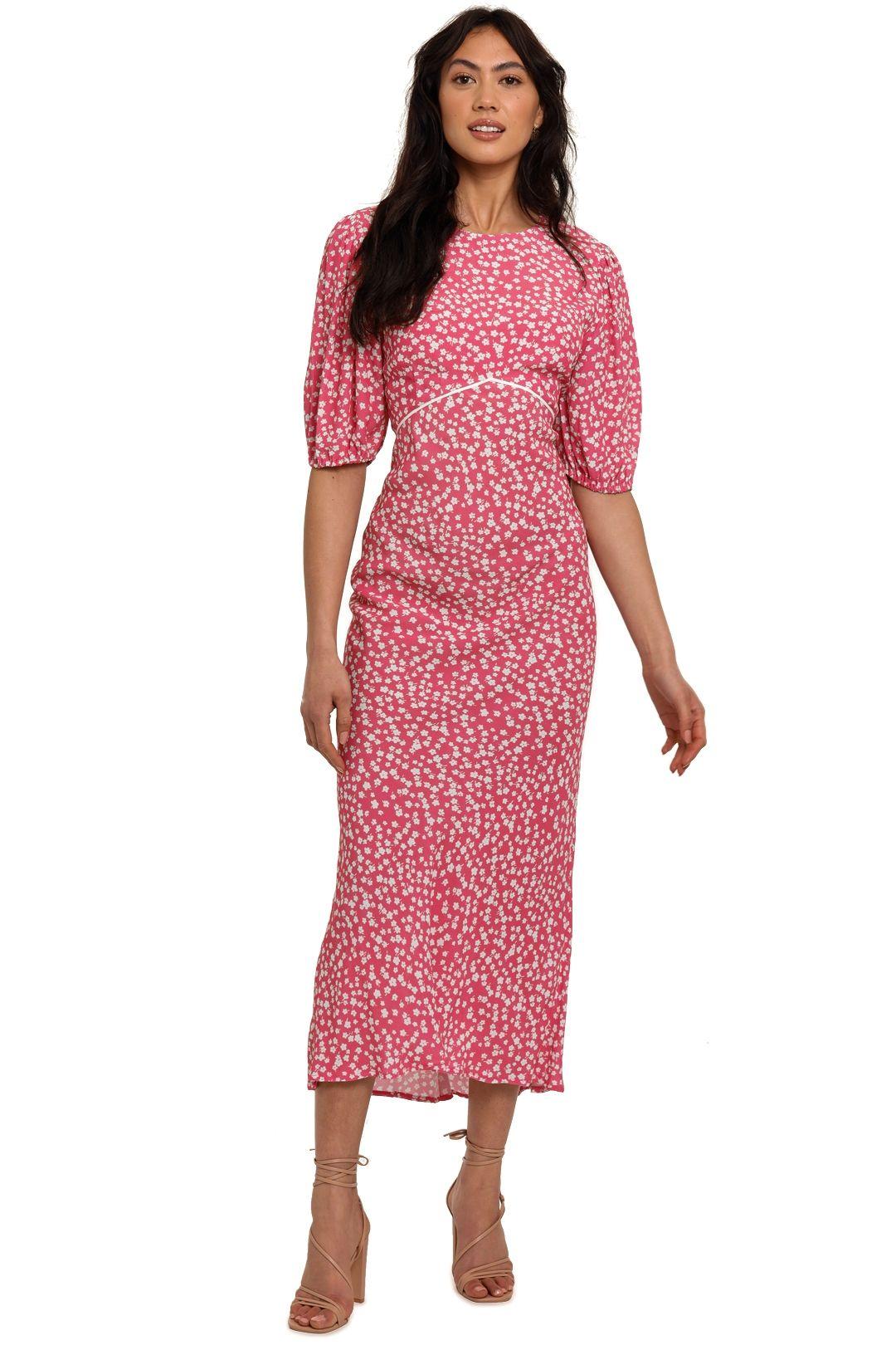 Rixo London Delilah Puff Sleeve Midi Dress