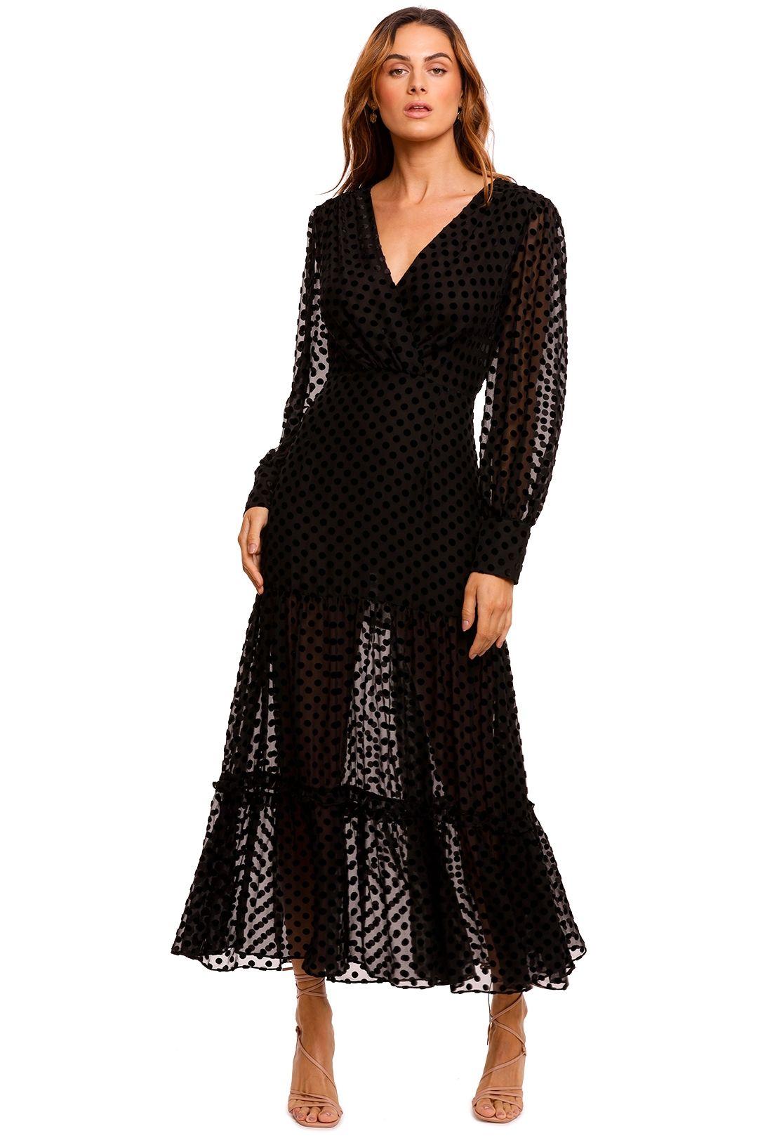 Rixo London Elsie Velvet Wrap Top Dress midi