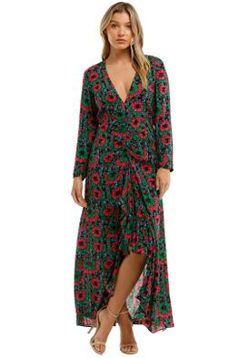 Rixo London Floral Print Cut Out Detail Dress Maxi