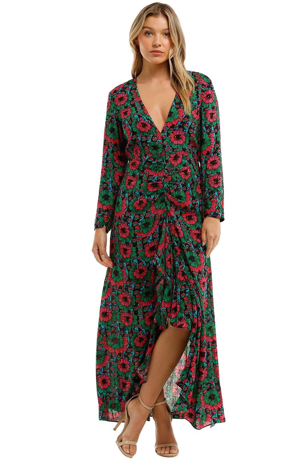 Rixo London Floral Print Cut Out Detail Dress Maxi