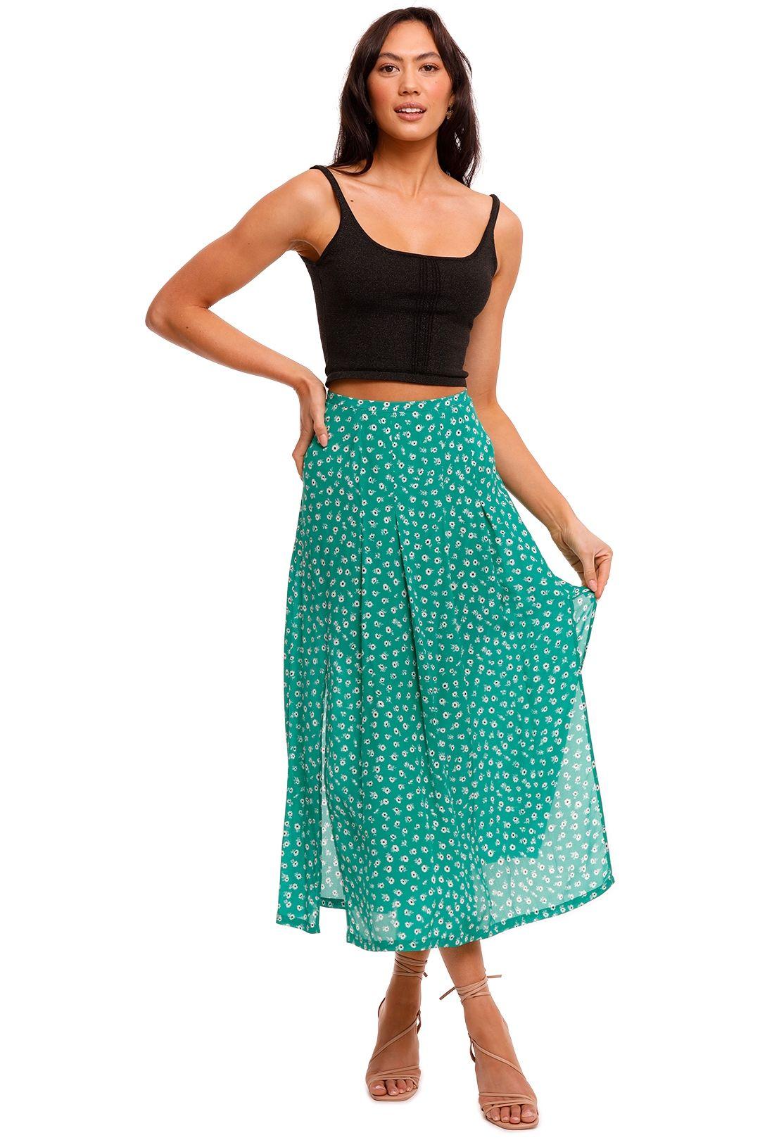 Rixo London Georgia Midi Skirt With Front Slits