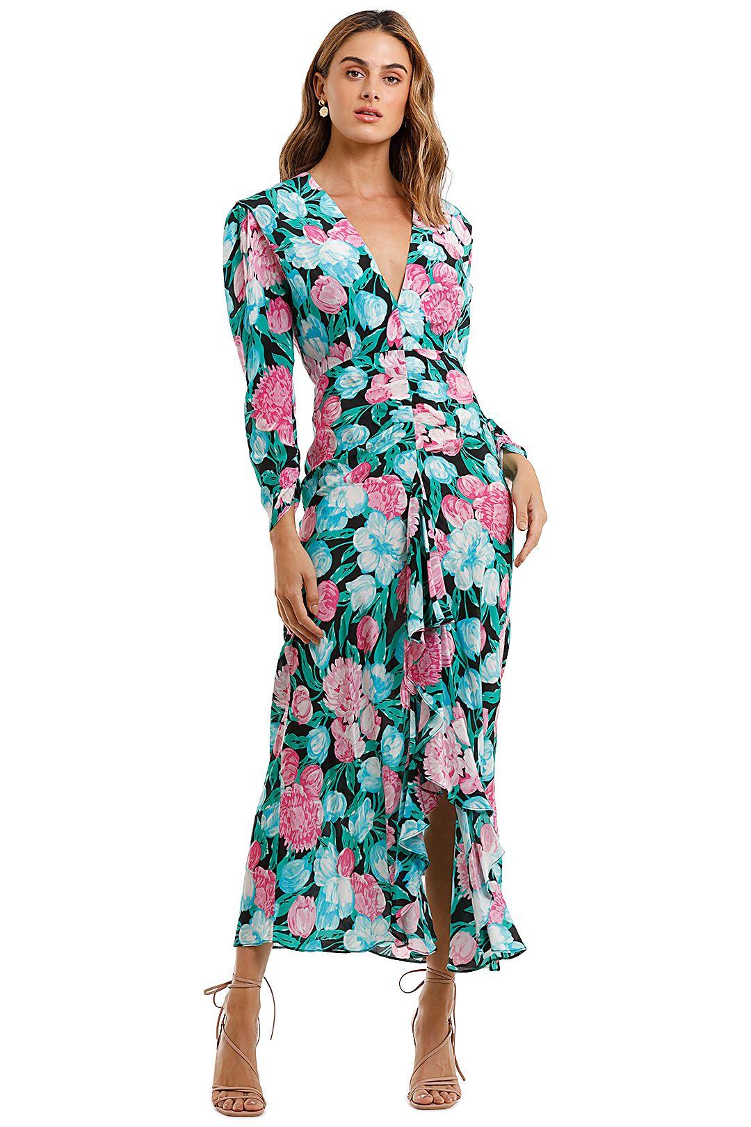 Rixo London Paloma Tulip Floral Maxi Dress ruffle