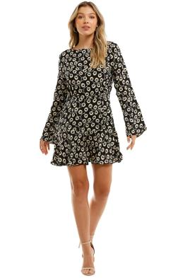 Rixo London Valentina Mini Dress Black Long Sleeves