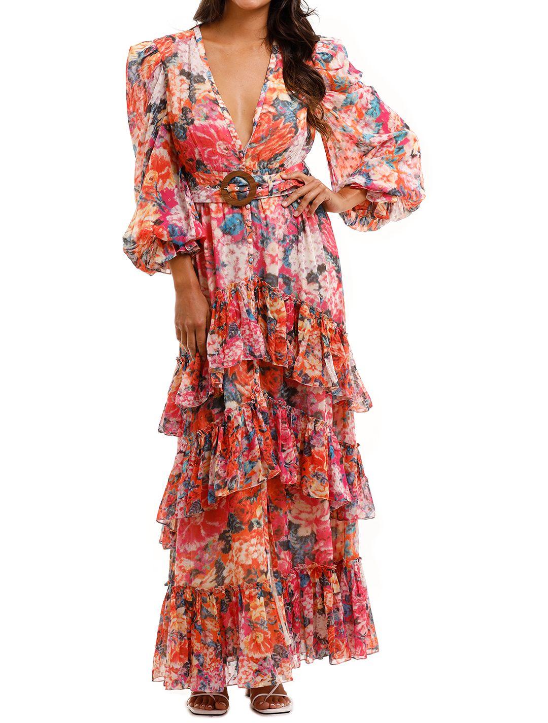 Rococo Sand Peony Maxi Dress V neckline