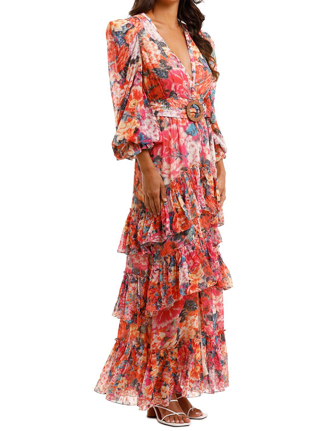 Rococo Sand Peony Maxi Dress Ruffle tiered skirt