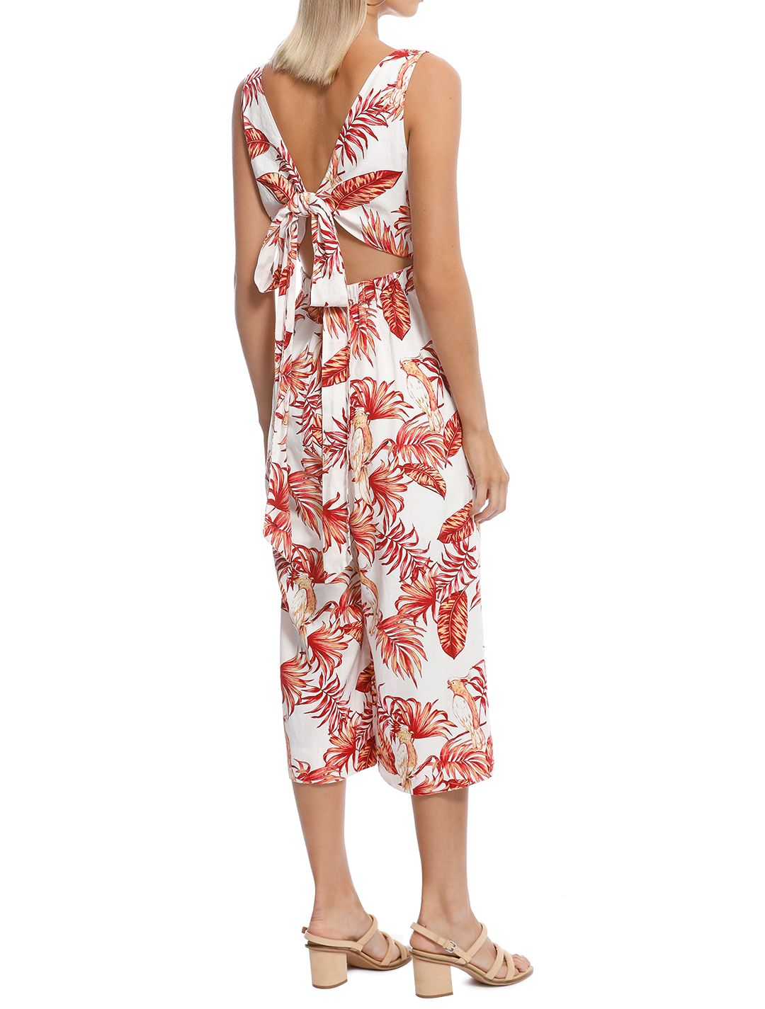 Rodeo Show - Love Bird Jumpsuit - White Floral - Back