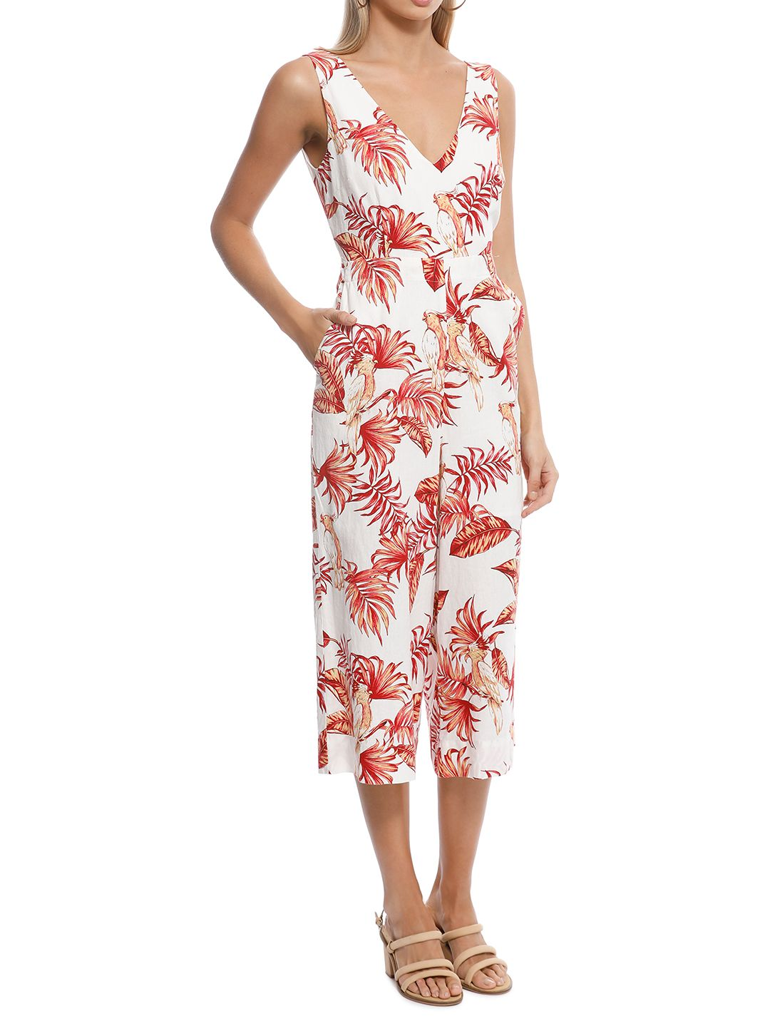 Rodeo Show - Love Bird Jumpsuit - White Floral - Side