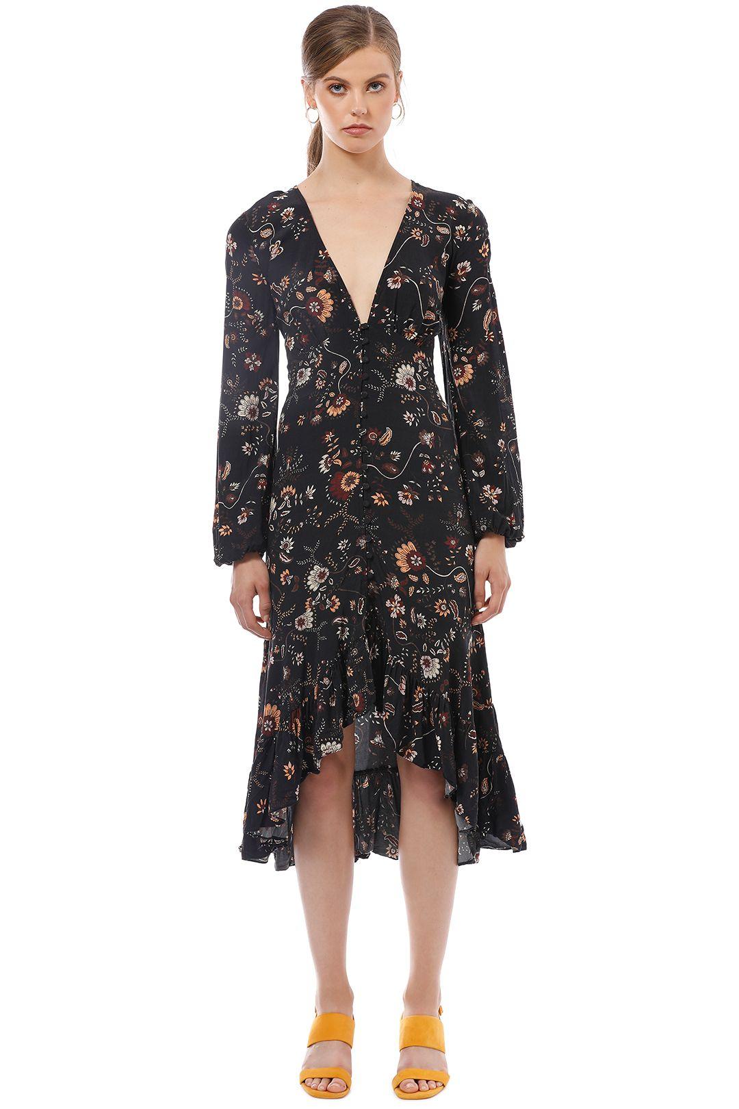 Rodeo Show - Mireya Midi Dress - Black Floral - Front