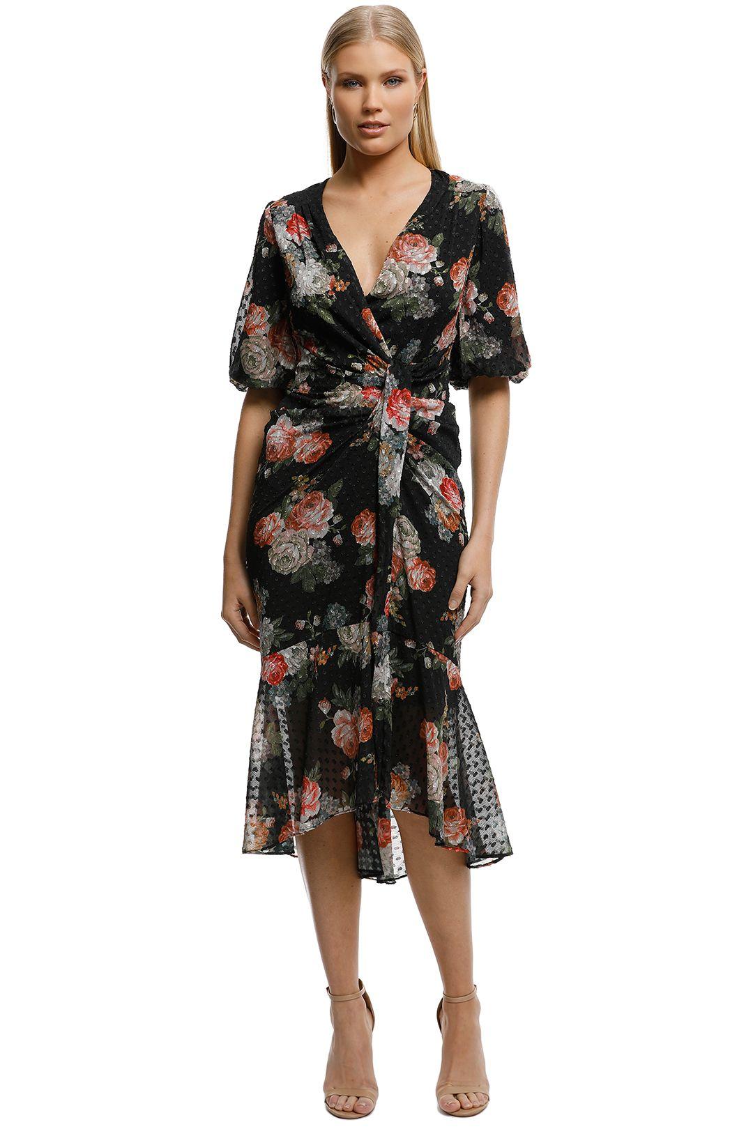 Rodeo Show - Sicily Wrap Maxi Dress-Black-Front